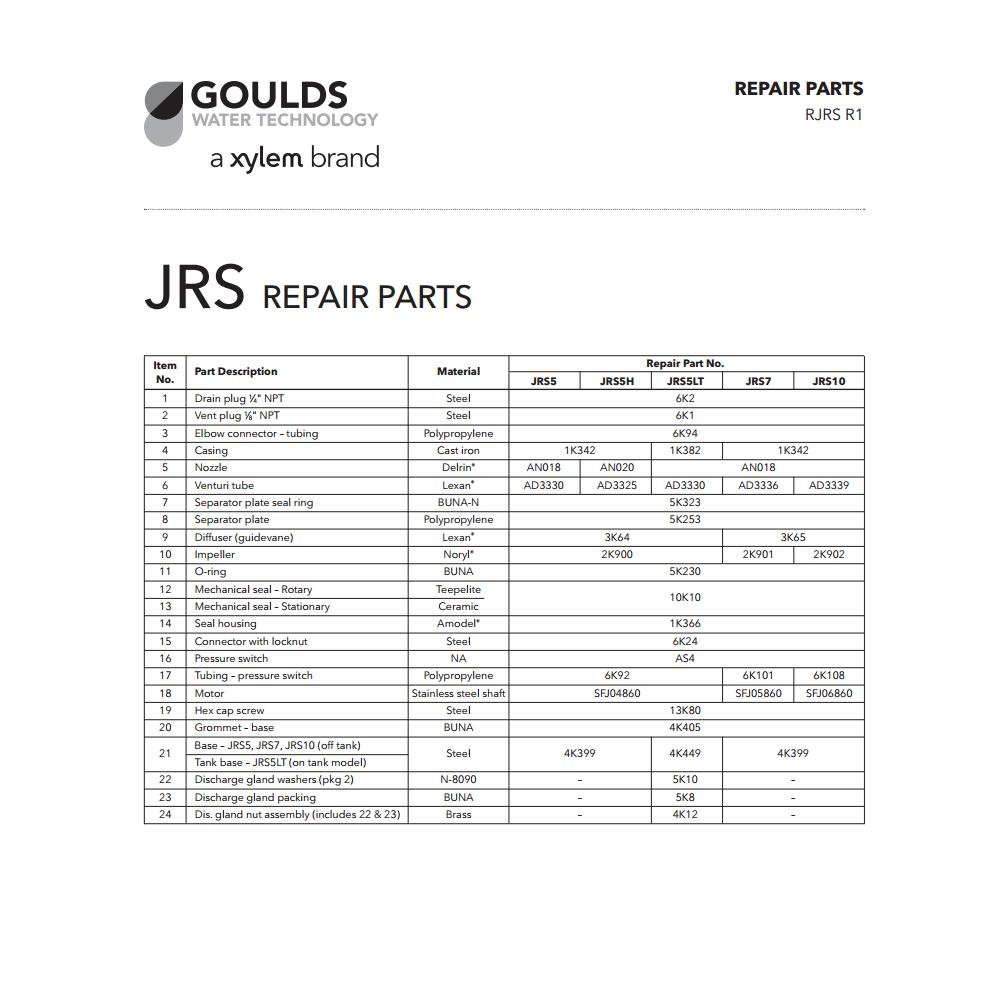 Repair Rebuild Kit for Goulds JRS10 JET Water Well Pump 1 HP