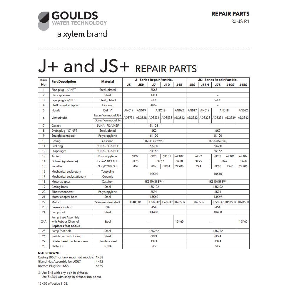 Repair Rebuild Kit For Goulds J5s Jet Water Well Pump 1 2hp J5s3